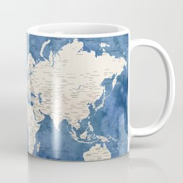 Light brown and blue watercolor detailed world map Coffee Mug