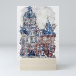 Aquarelle sketch art. Basilica of Saint Nicholas in Amsterdam, Netherlands Mini Art Print