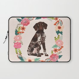 german shorthair pointer floral wreath spring dog breed pet portrait gifts Laptop Sleeve