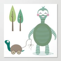 tortoise Canvas Prints featuring Tortoise by Esther Ilustra