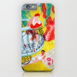 'Love Flight of a Pink Candy Heart' landscape painting by Florine Stettheimer iPhone Case