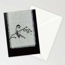 chickadee on a perch Stationery Cards