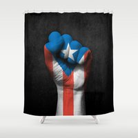 puerto rico Shower Curtains featuring Puerto Rican Flag on a Raised Clenched Fist by Jeff Bartels