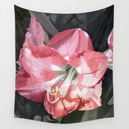 Pink Amaryllis Watercolor Botanical Garden Flower Painting Nature Art Wall Tapestry