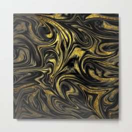 Digital Marble & Gold Metal Print