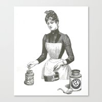 cooking Canvas Prints featuring Cooking by MICKEY FICKEY GALLERY