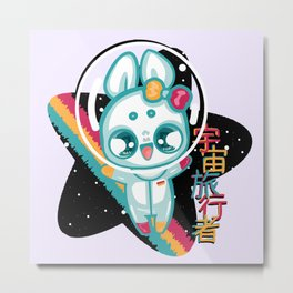Moon Bunnies: Space Traveller Metal Print