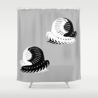 ying yang Shower Curtains featuring Ying & Yang BUG  by Karl Wilson Photography