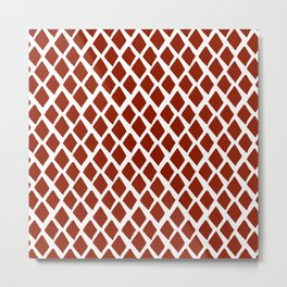 Rhombus Red And White Metal Print