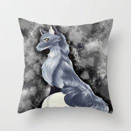 Silver Fox Throw Pillow