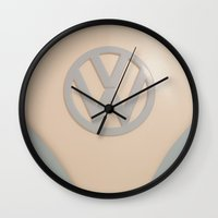 volkswagon Wall Clocks featuring VW Happiness by ShadeTree Photography