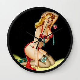 Pin-Up with Rose by Peter Driben Wall Clock