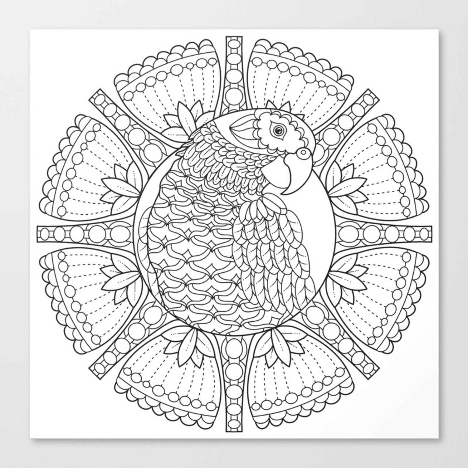 Parrot Mandala Color Your Own Coloring Art Canvas Print By