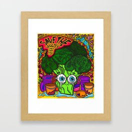 Save the Veggies! - Broccoli Framed Art Print