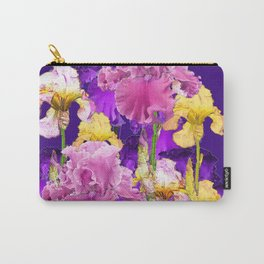 Decorative Contemporary   Pink Yellow & Purple Iris Flowers Carry-All Pouch