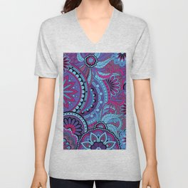 Pattern with violet mandalas Unisex V-Neck