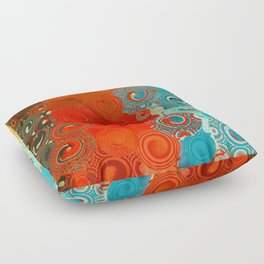 Turquoise and Red Swirls Floor Pillow