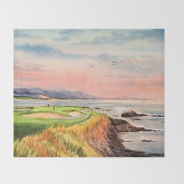 Pebble Beach Golf Course 7th Hole Throw Blanket