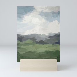 Sky Blue and Forest Green Rural Country Farm Land Nature Abstract Painting Art Print Wall Decor  Mini Art Print