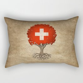 Vintage Tree of Life with Flag of Switzerland Rectangular Pillow