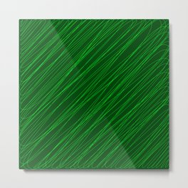 Royal ornament of their green threads and dark intersecting fibers. Metal Print