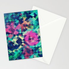 Fruity Rose - Fancy Colorful Abstraction Pattern Design (green pink blue) Stationery Cards