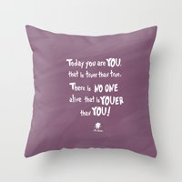 dr seuss Throw Pillows featuring dr seuss youer than you by studiomarshallarts