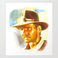 indiana jones Art Prints featuring Indiana Jones by Illusoryart