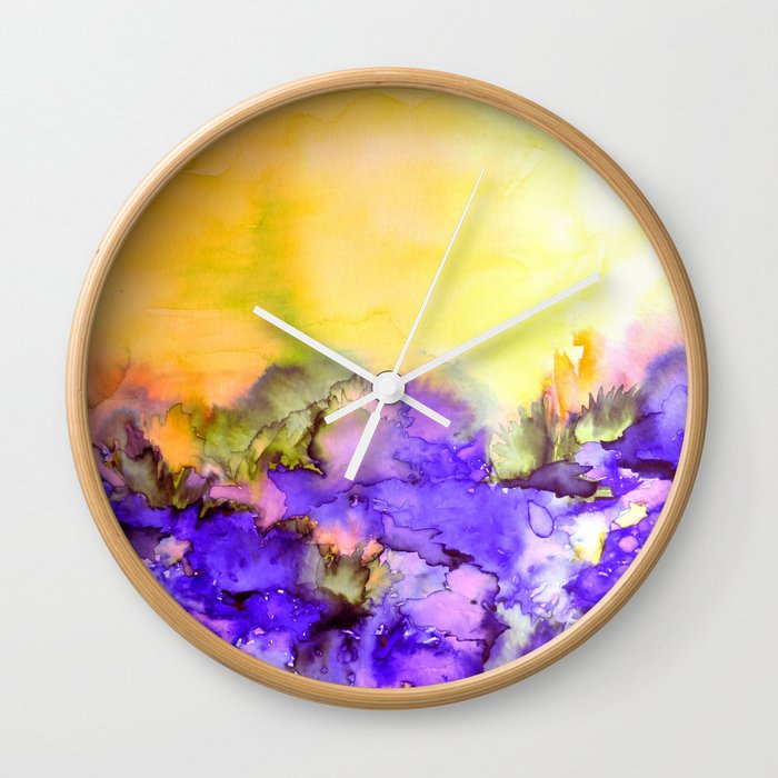 INTO ETERNITY, YELLOW AND LAVENDER PURPLE Colorful Watercolor ...