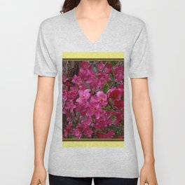 FUCHSIA PURPLE CRAB APPLE FLOWERS  FLORAL ART Unisex V-Neck