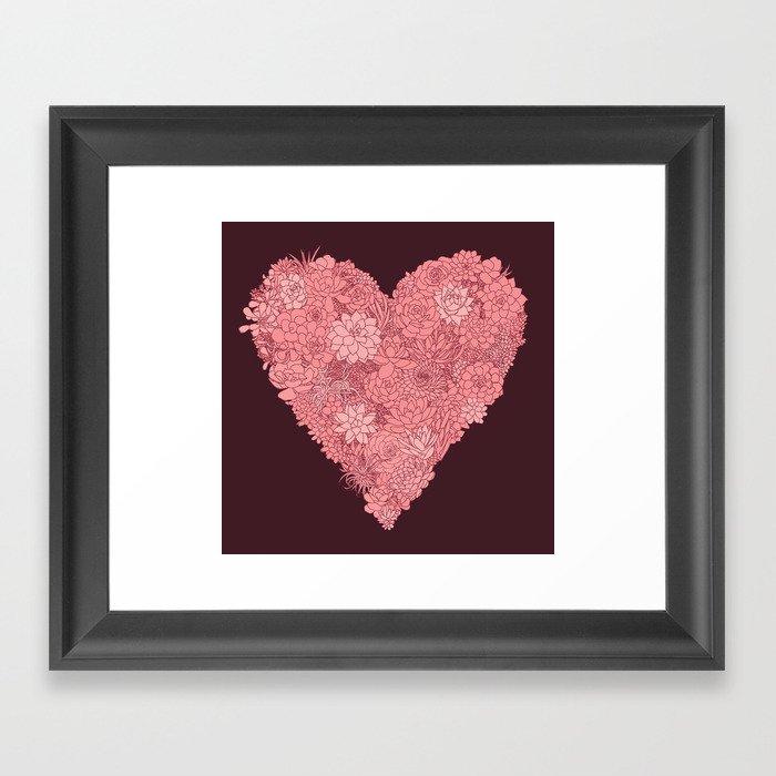 Pink Succulent Heart Framed Art Print