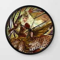 safari Wall Clocks featuring Safari by Bea González