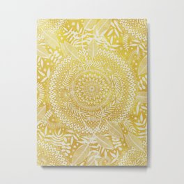 Medallion Pattern in Mustard and Cream Metal Print