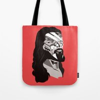merry christmas Tote Bags featuring Merry Christmas by Tshirtbaba