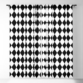 Classic Black and White Harlequin Diamond Check Blackout Curtain