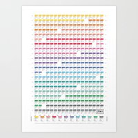 calendar Art Prints featuring Calendar 2014 by neuprouns