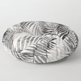 Palm Leaves - Black & White Floor Pillow