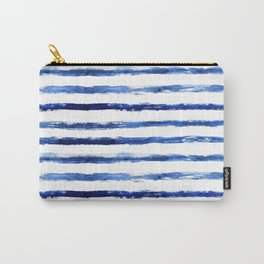 Blue grungy stripes Carry-All Pouch