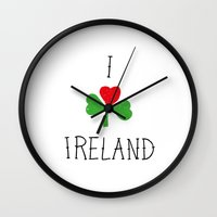 ruben ireland Wall Clocks featuring Ireland by David