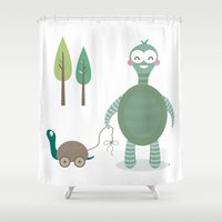 tortoise Shower Curtains featuring Tortoise by Esther Ilustra
