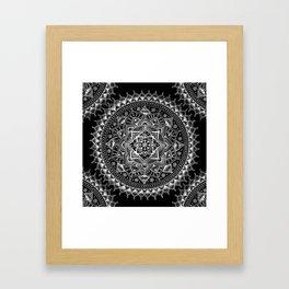 White Flower Mandala on Black Framed Art Print