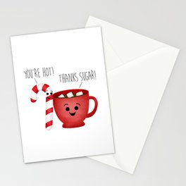 You're Hot! Thanks Sugar! Candy Cane & Hot Chocolate Couple Stationery Cards