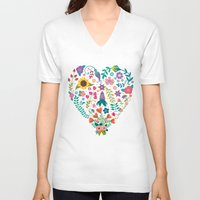 agnes V-neck T-shirts featuring Floral Heart by Anna Deegan