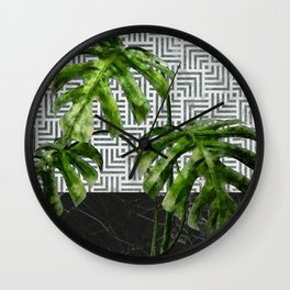 Monstera Leaves on Black Marble and Tiles Wall Clock