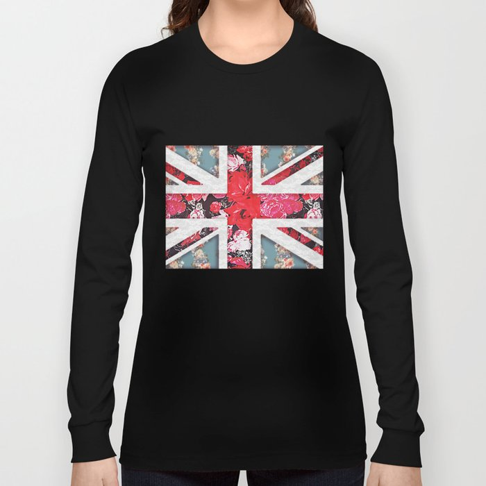 God save the Queen | Elegant girly red floral & lace Union Jack  Long Sleeve T-shirt
