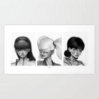 powerpuff girls Art Prints featuring Powerpuff Girls by Jeebus Wizzler