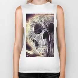 webbed abstract skull Biker Tank