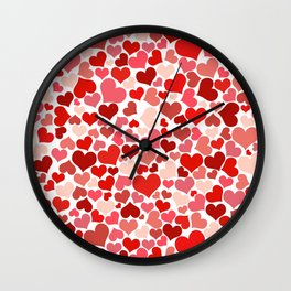 Love, Romance, Hearts - Red White Wall Clock