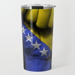 Bosnian Flag on a Raised Clenched Fist Travel Mug