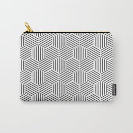 Hexagons Pattern on Gray Carry-All Pouch